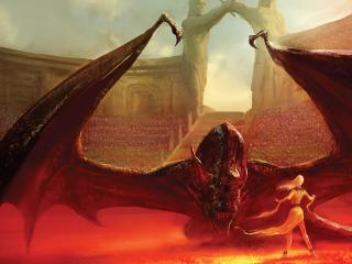 dragon, girl, arena wallpaper