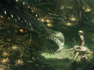 dragon, girl, forest wallpaper