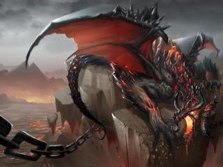 dragon, jaws, chains wallpaper