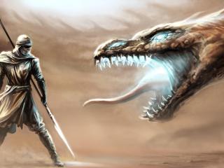 dragon, mouth, warrior wallpaper