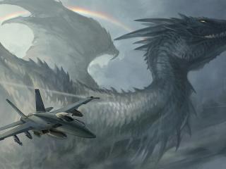 dragon, plane, rainbow wallpaper