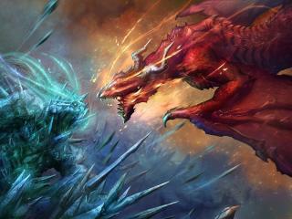 dragons, art, battle wallpaper