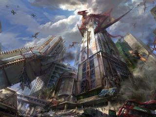 dragons, city, skyscrapers wallpaper
