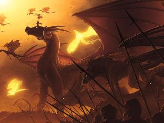 dragons, flying, people wallpaper