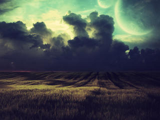 Dramatic Field Under Dark Clouds wallpaper