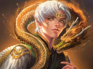 elf, eyes, dragon wallpaper