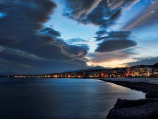evening, beach, city wallpaper