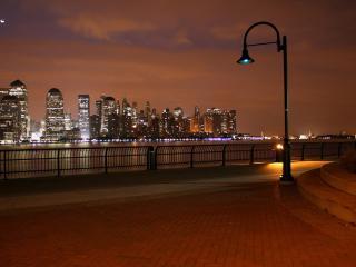 evening, city, lights wallpaper