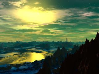 Fantasy 3D Forest Mountains Art wallpaper