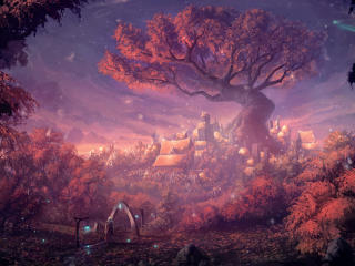 Fantasy Forest City wallpaper