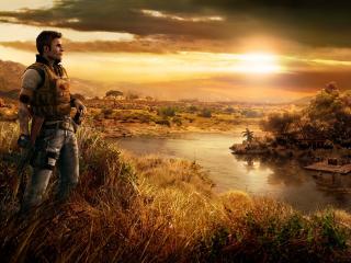 far cry, river, sunset wallpaper