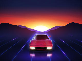 Ferrari Testarossa Sunrise wallpaper