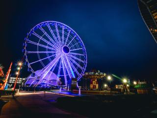 ferris wheel, night, light wallpaper