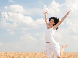 field, girl, jump wallpaper