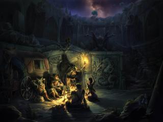 fire, cauldron, gharry wallpaper