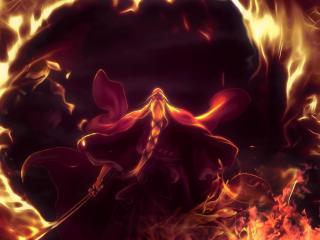fire, flame, sword wallpaper