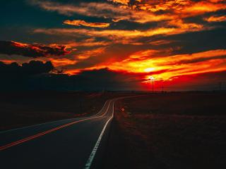 Fire Sunset at Road 4K wallpaper