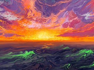 Fire Sunset Digital Art wallpaper