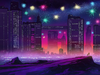 Fireworks in Futuristic City wallpaper