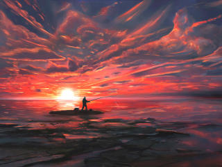 Fisherman Digital Art wallpaper
