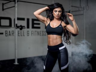 Fitness Model Black Dress wallpaper