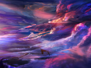 Flying Dragon over Colorful Cloud wallpaper
