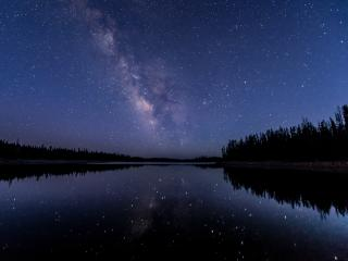 Forest Milky Way Night Reflection over River wallpaper
