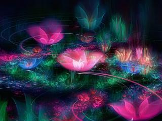 fractal, flowers, space wallpaper