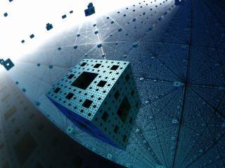 fractal, menger sponge, flight wallpaper
