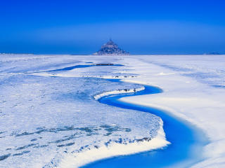 France Landscape Mont Saint-Michel Snow wallpaper