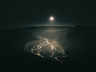 Full Moon Over Mountain River At Night wallpaper