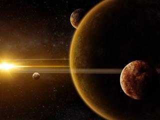 galaxy, planet, light wallpaper