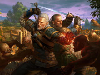 Geralt of Rivia and Vesemir wallpaper