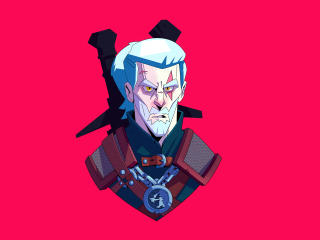 Geralt of Rivia The Witcher Cartoon Minimal wallpaper