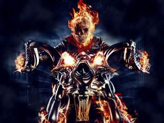 ghost rider, motorcycle, fire wallpaper