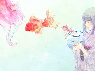 girl, anime, aquarium wallpaper
