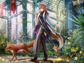 girl, anime, fox wallpaper