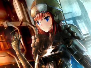 girl, anime, helmet wallpaper