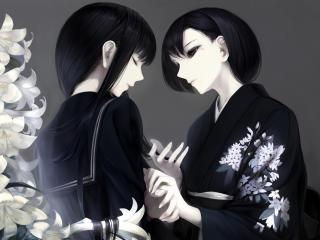 girl, anime, kimono wallpaper