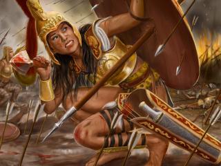 girl, arrows, spear wallpaper