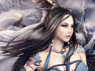 girl, asian, tattoos wallpaper