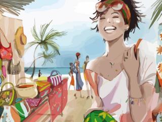 girl, beach, vacation wallpaper