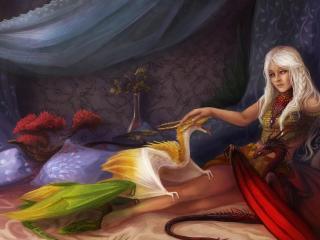 girl, bed, dragons wallpaper