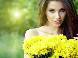 girl, bouquet, flowers wallpaper
