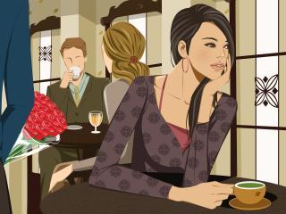 girl, cafe, couple wallpaper