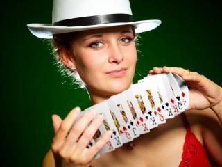 girl, cards, shuffle wallpaper