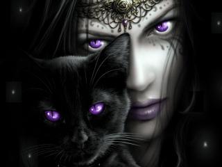 girl, cat, eyes wallpaper