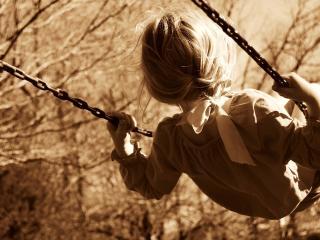 girl, child, swing wallpaper
