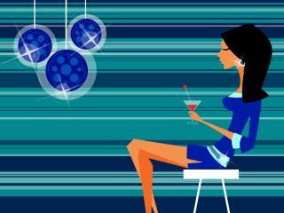 girl, club, cocktail wallpaper