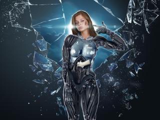 girl, cyborg, glass wallpaper